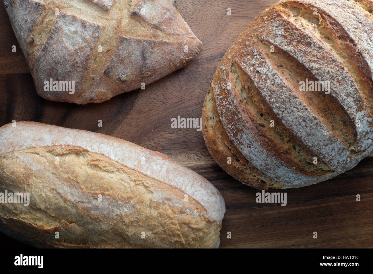 Three traditional Loaves of bread - from above - Stock Image