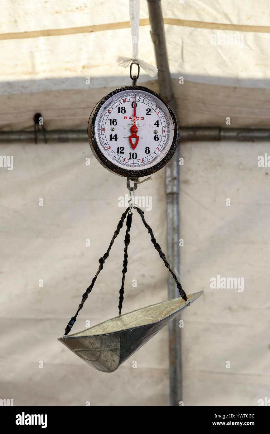 Scale, Haymarket Square Farmers Market, North End, Boston, Massachusetts - Stock Image