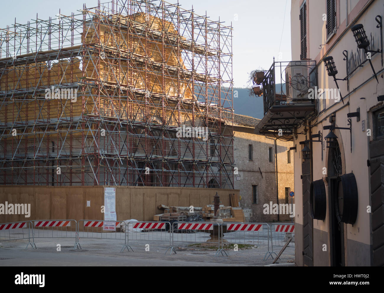 Norcia, Italy. Reconstructions after the violent earthquake - Stock Image
