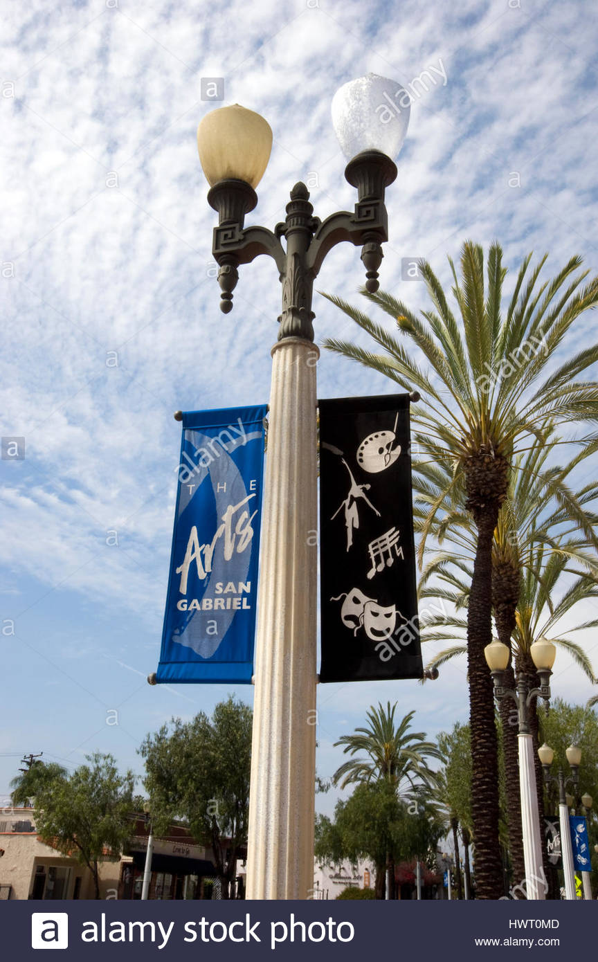 Banners for San Gabriel arts on light post in San Gabriel, California - Stock Image