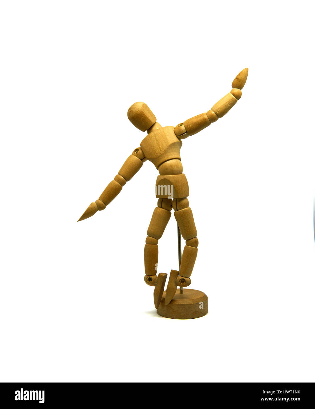 dancing wooden mannequin puppet isolated stock photo 136367196