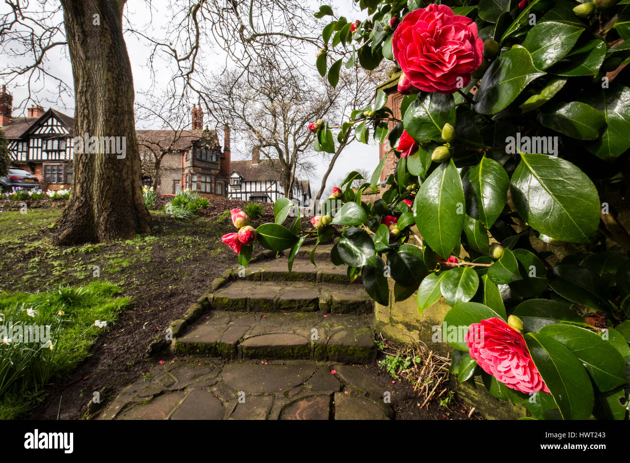 Port Sunlight - a model village and suburb in the Metropolitan Borough of Wirral, Merseyside - Stock Image