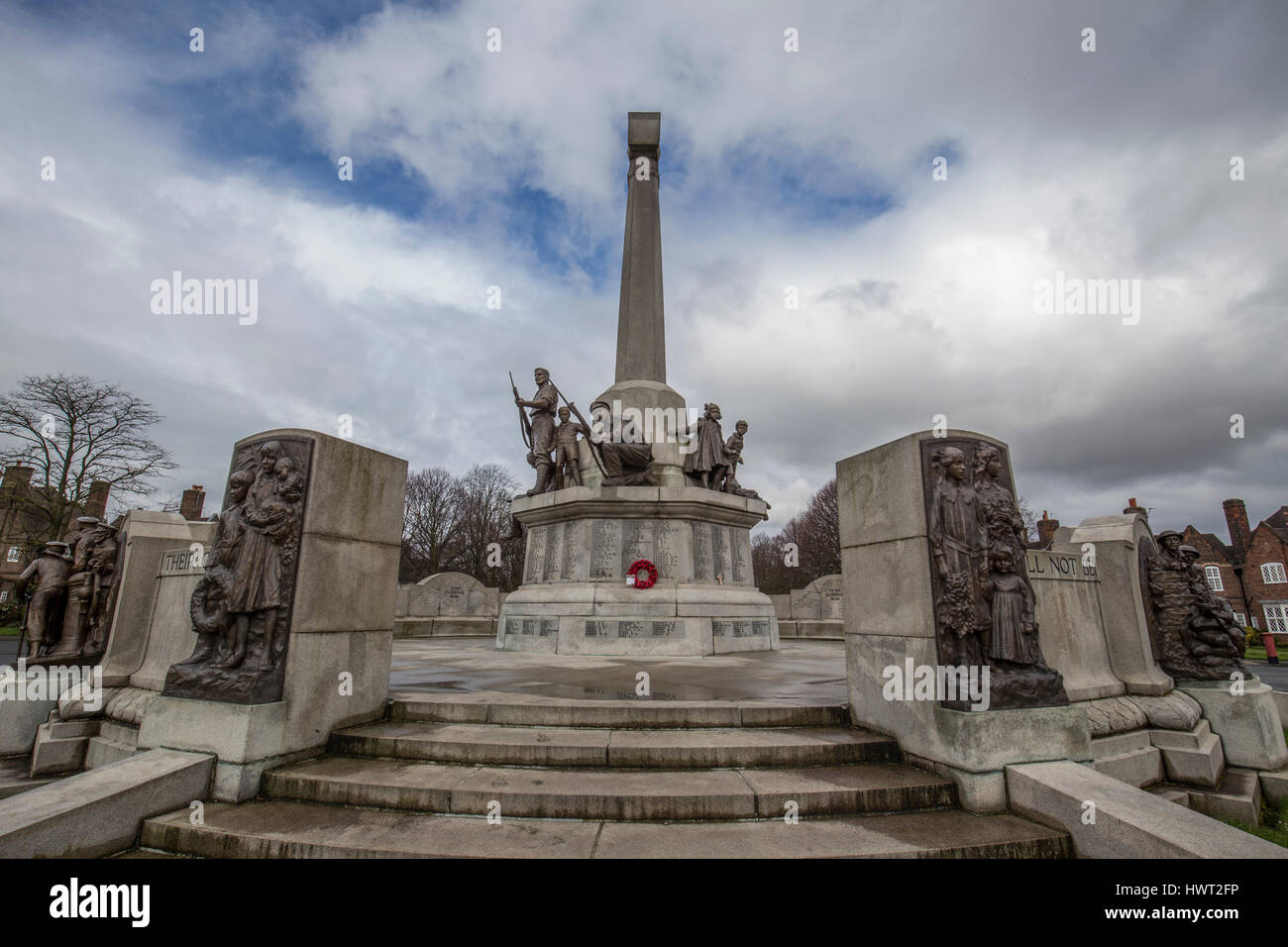 Port Sunlight - a model village and suburb in the Metropolitan Borough of Wirral, Merseyside. War Memorial - Stock Image