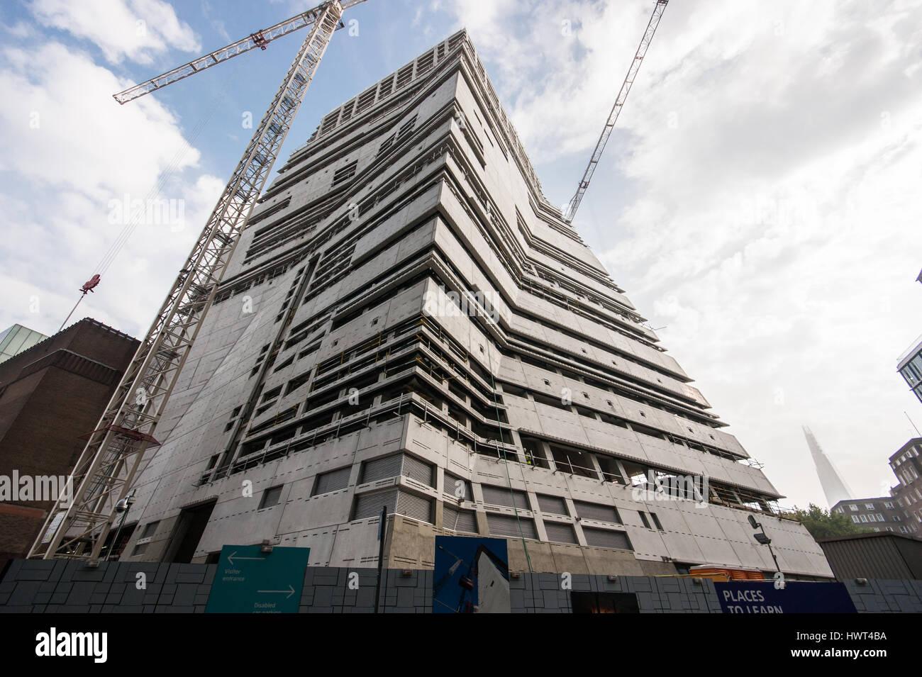 Tate Modern expansion by Herzog & de Meuron architects under construction in September 2014, London, Bankside - Stock Image