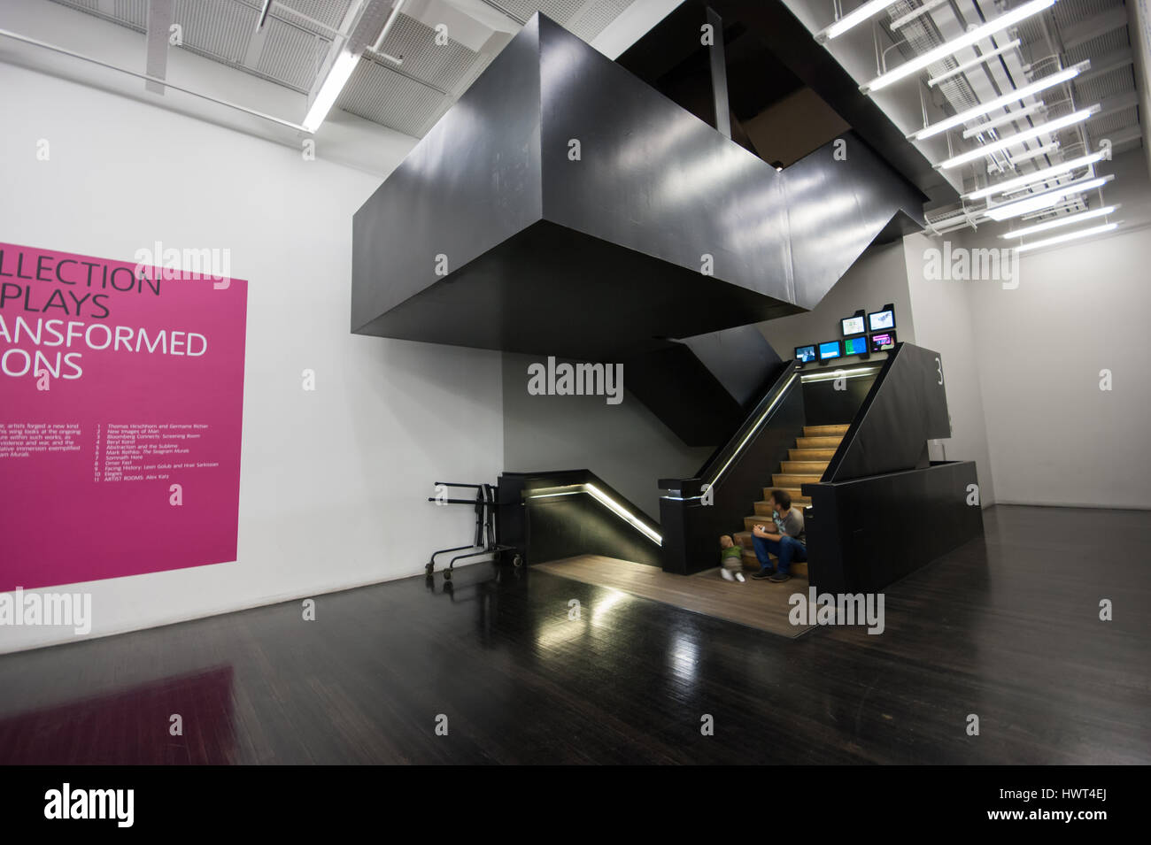 Interactive touch screens, part of the Bloomberg Connects digital learning system installation at the Tate Modern - Stock Image