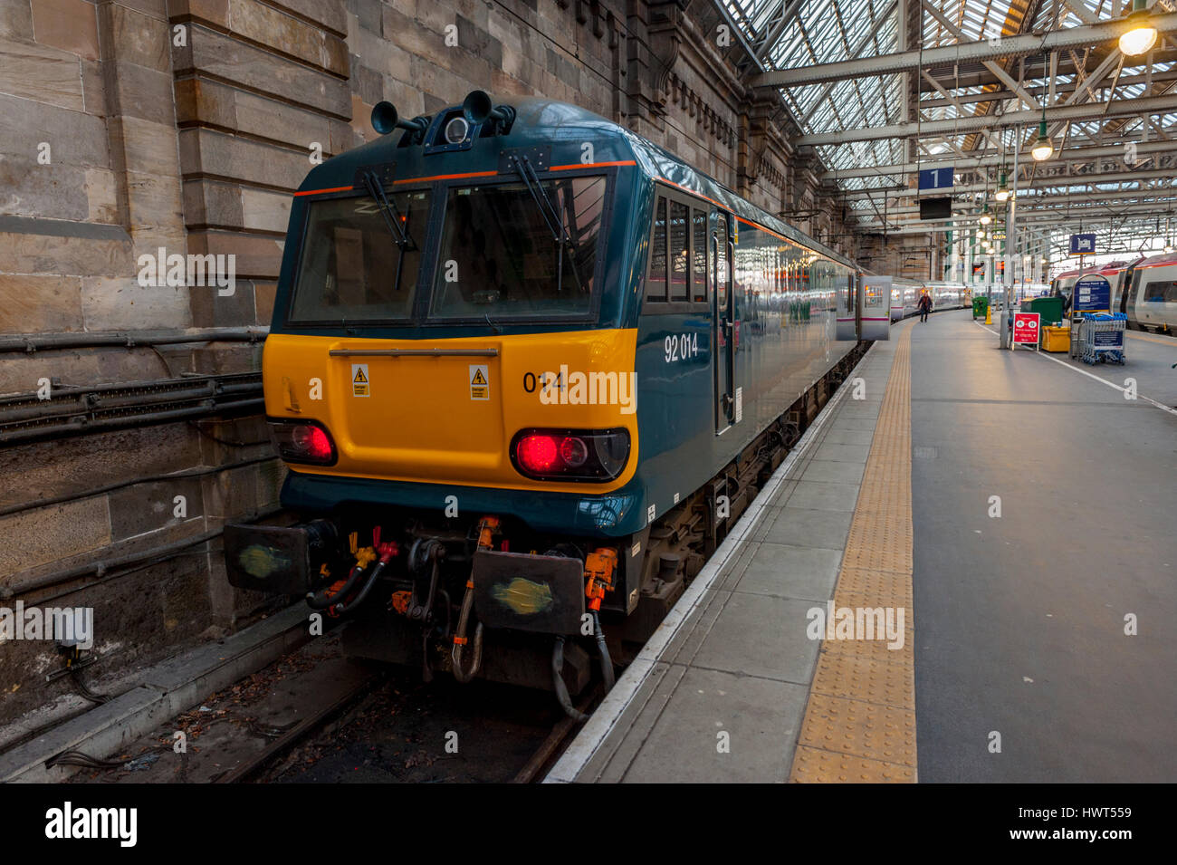 Caledonia sleeper train in Glasgow central station platform one. - Stock Image
