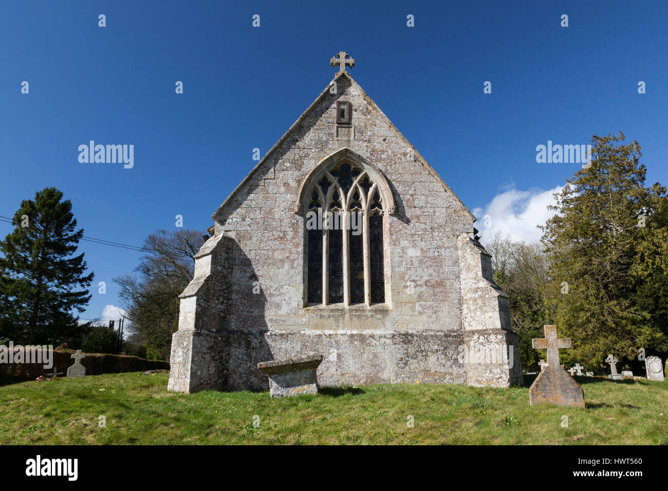 St Cosmas & St Damian Church in the pretty Wiltshire village of Sherrington - Stock Image