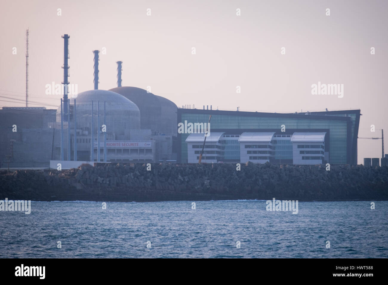 Flamanville nuclear power station in Dielette, France. - Stock Image