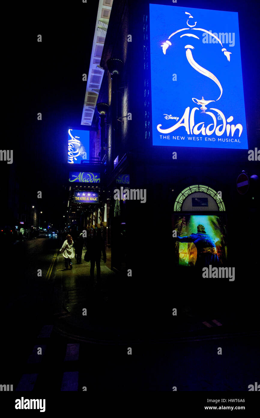 night view of Prince Edward Theatre in Old Compton Street, Soho, London UK.  playing Aladdin, a Disney  Musical - Stock Image