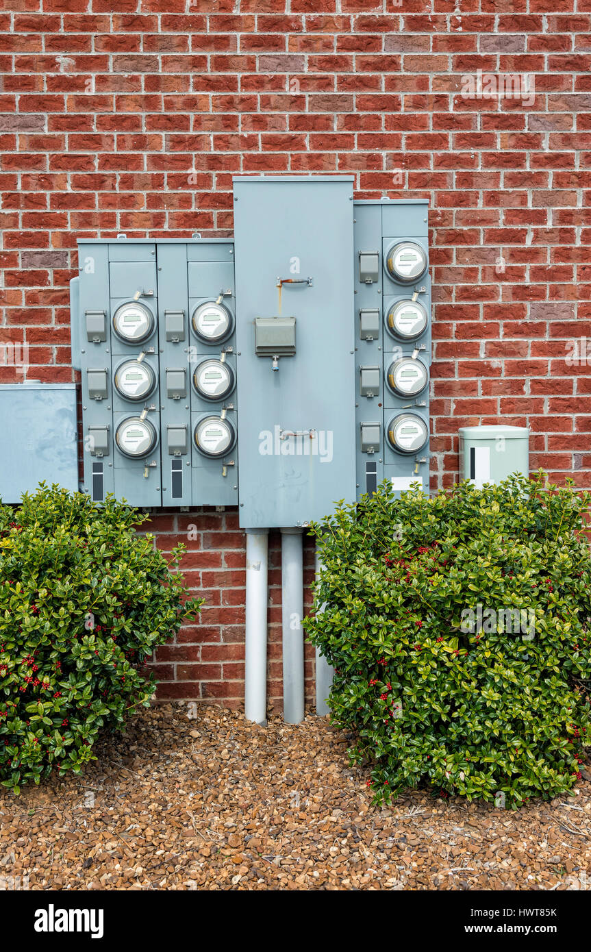 Electric Meters For Multi-Family Apartments - Stock Image