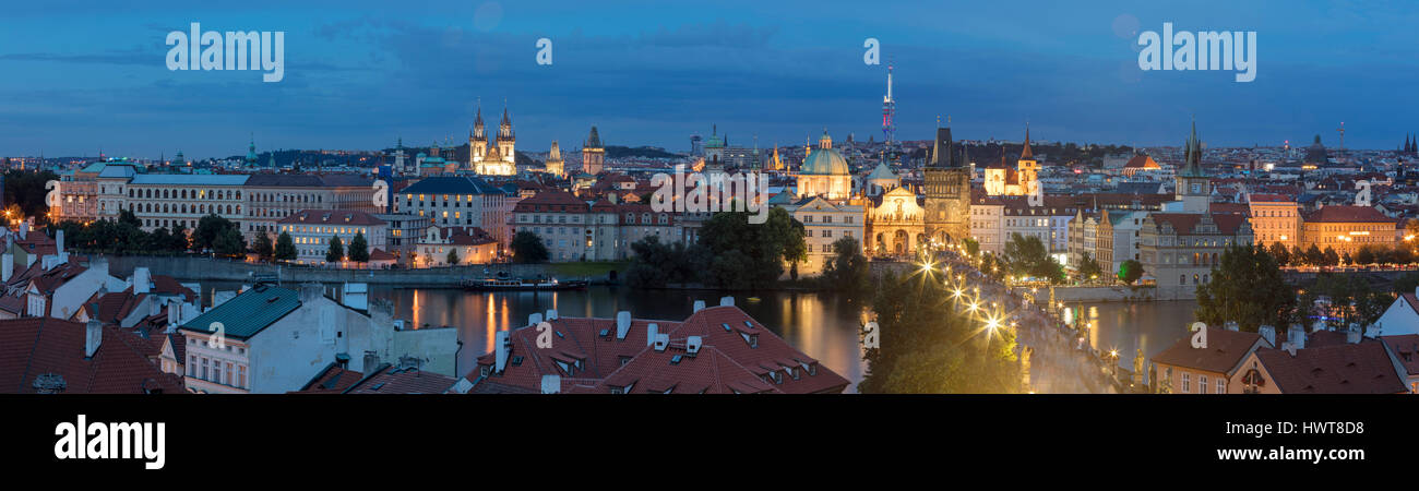 Panoramic views over the historic centre with Moldau, Castle and Charles Bridge, Prague, Czech Republic - Stock Image