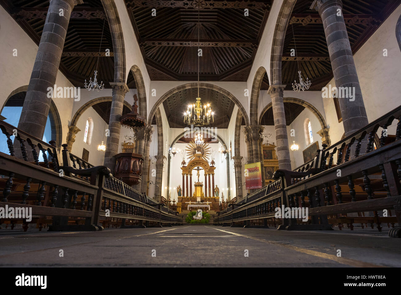 Interior, Church of Santa Ana, Garachico, Tenerife, Canary Islands, Spain Stock Photo