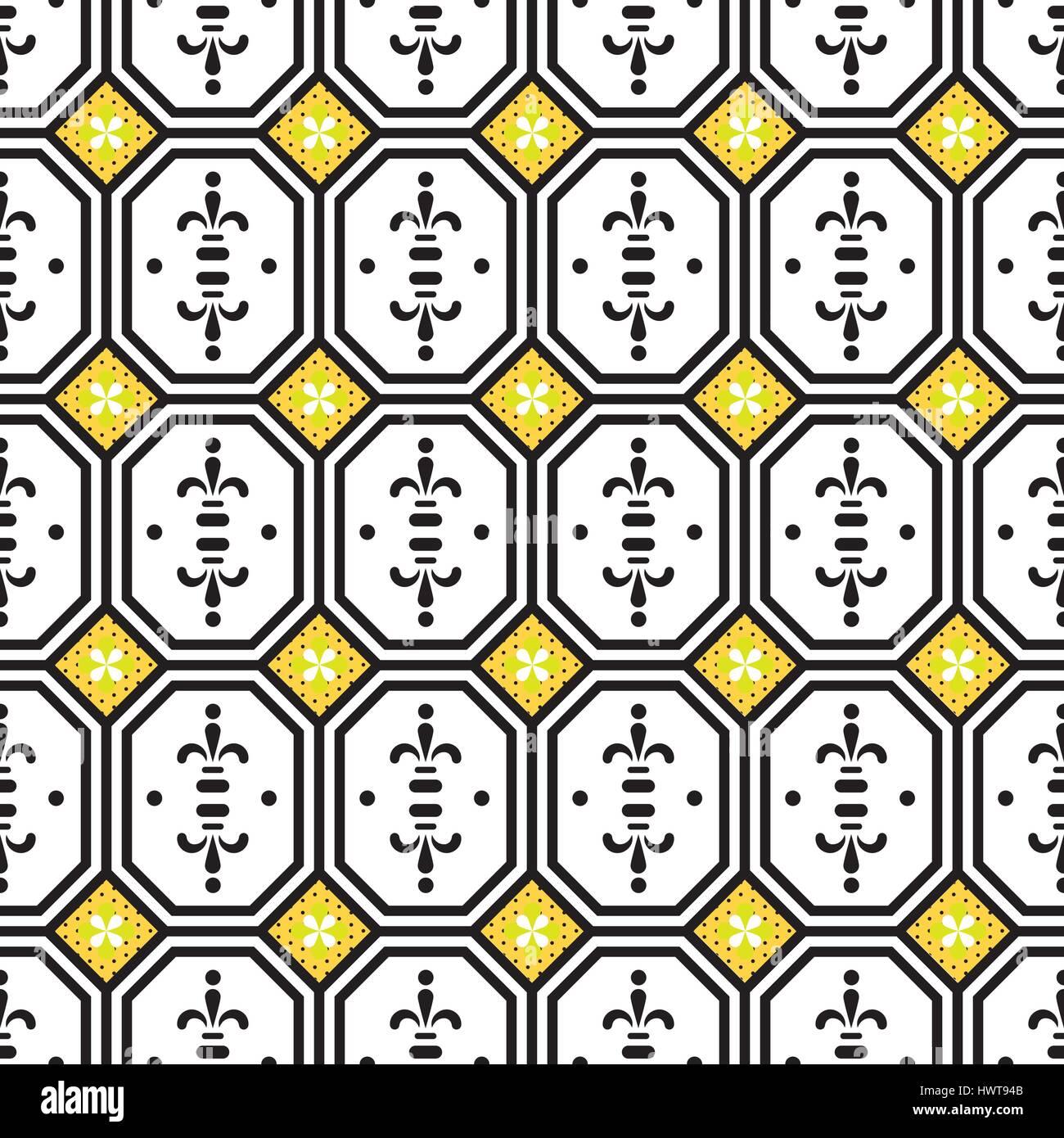 Ceramic tiles mediterranean seamless pattern. Geometric retro shapes vector texture for ceramic design, textile - Stock Vector