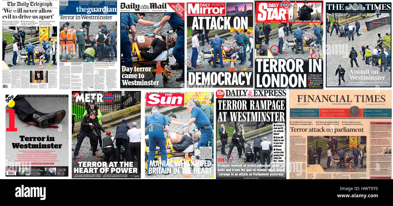 The front pages of national newspapers the day after a terrorist attack on the Palace of Westminster where police - Stock Image