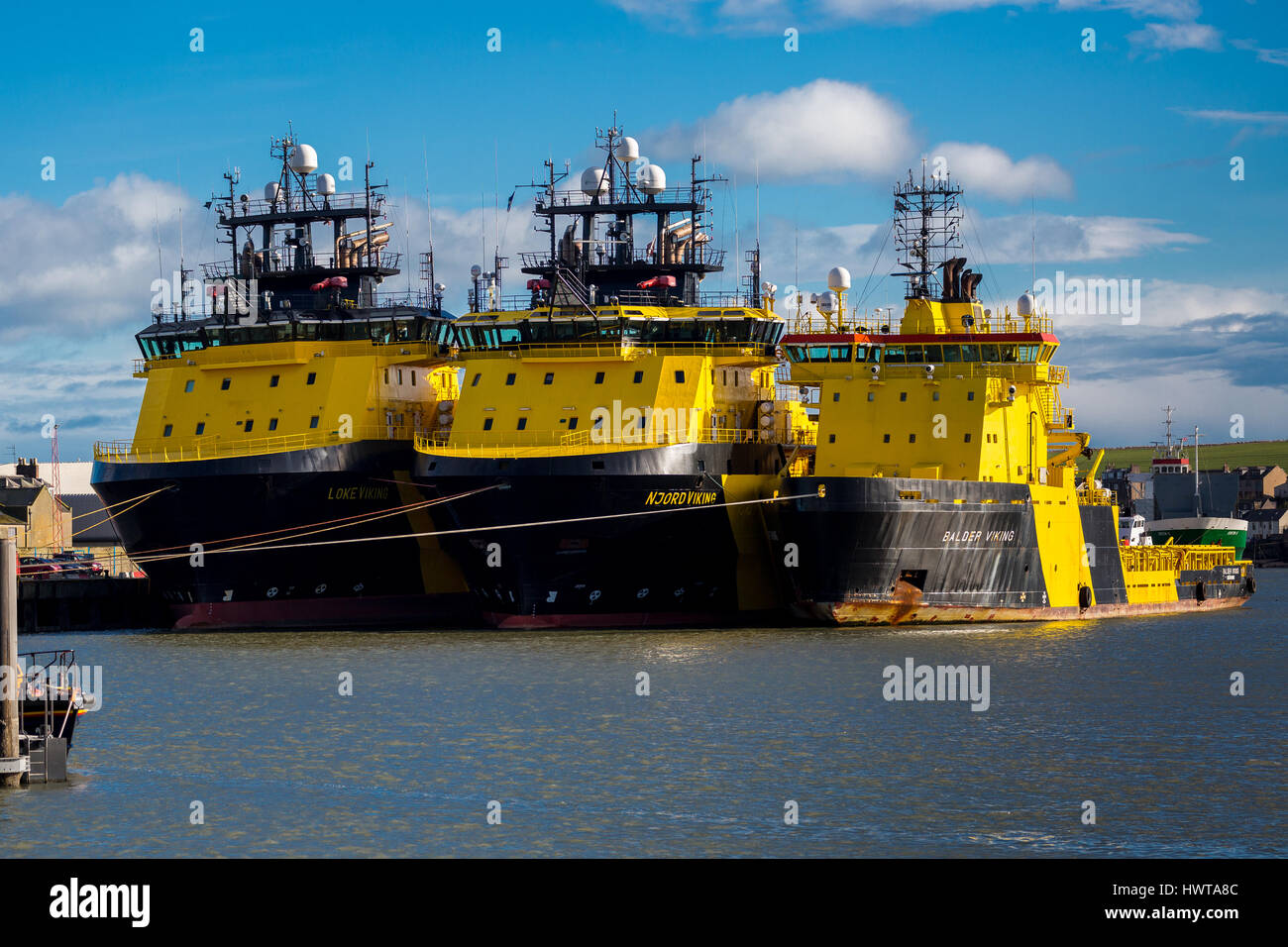 VIKING shipping line vessels. Oil support ships triple berthed, Montrose Harbour Scotland UK - Stock Image