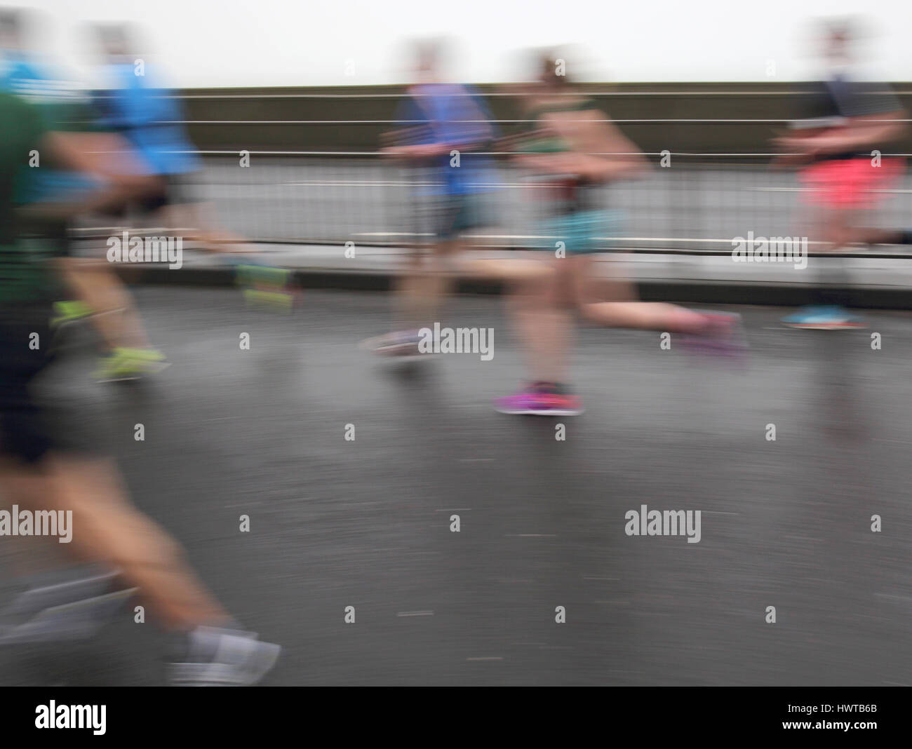 runners in the brighton half marathon along the seafront in brighton - Stock Image