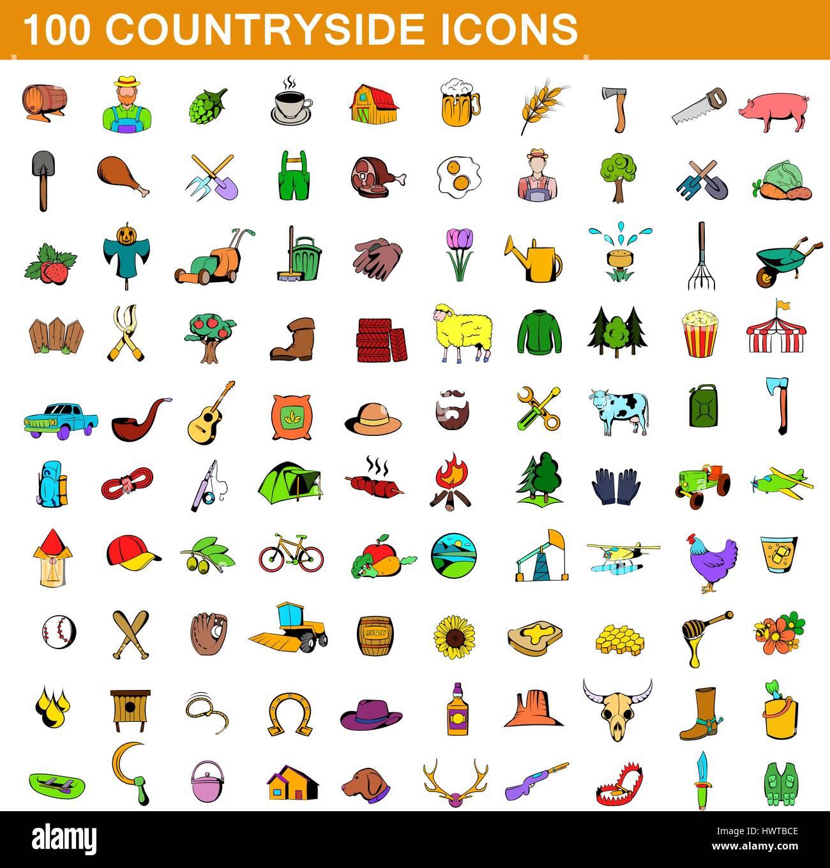 100 countryside icons set, cartoon style - Stock Image