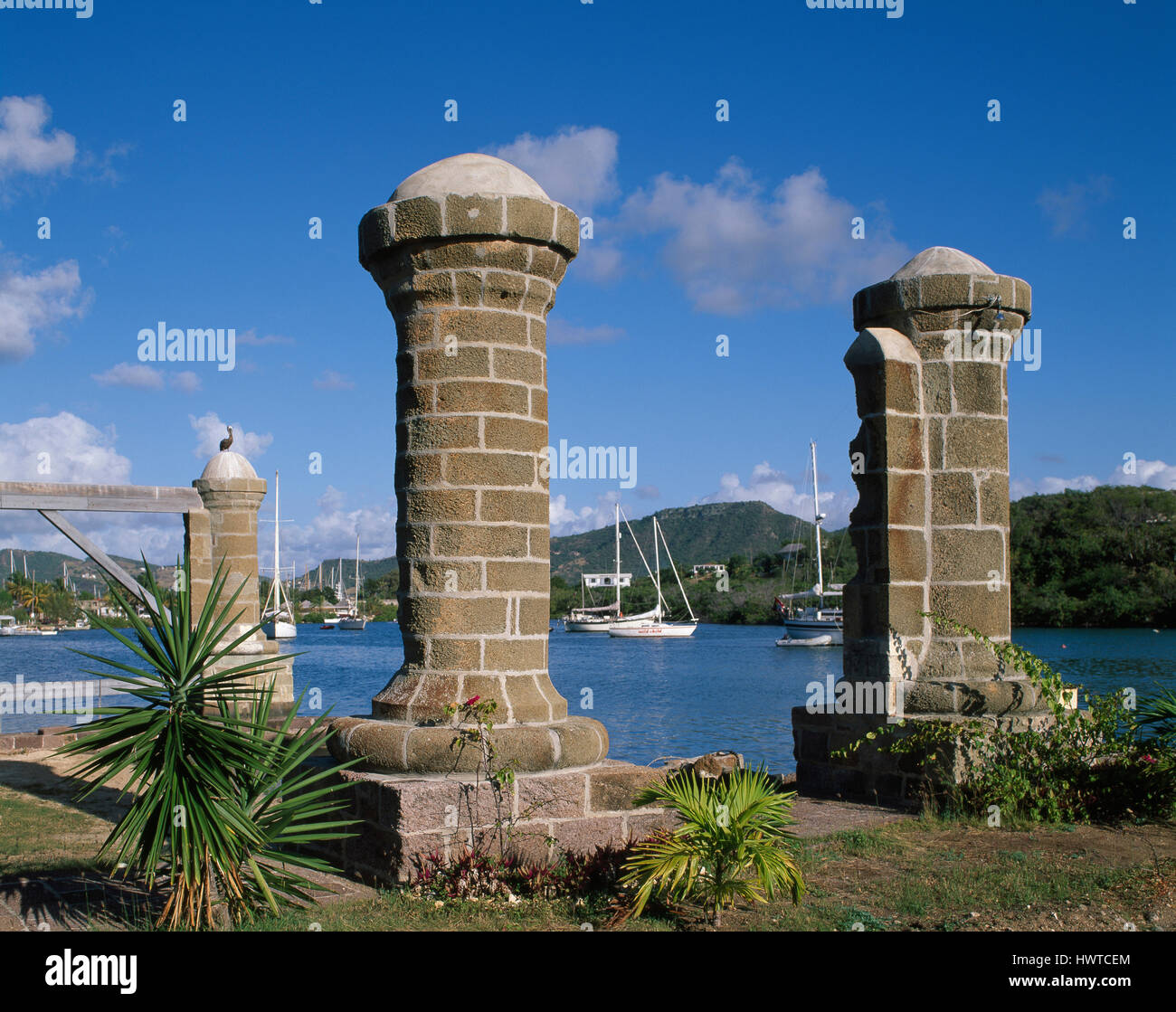 Sail loft pillars, Nelson's Dockyard, English Harbour, Antigua - Stock Image