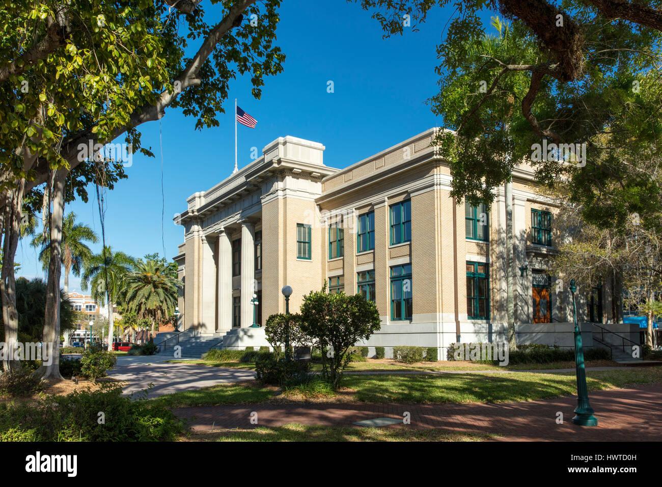 Old Lee County Courthouse (b 1915), Ft Myers, Florida, USA - Stock Image