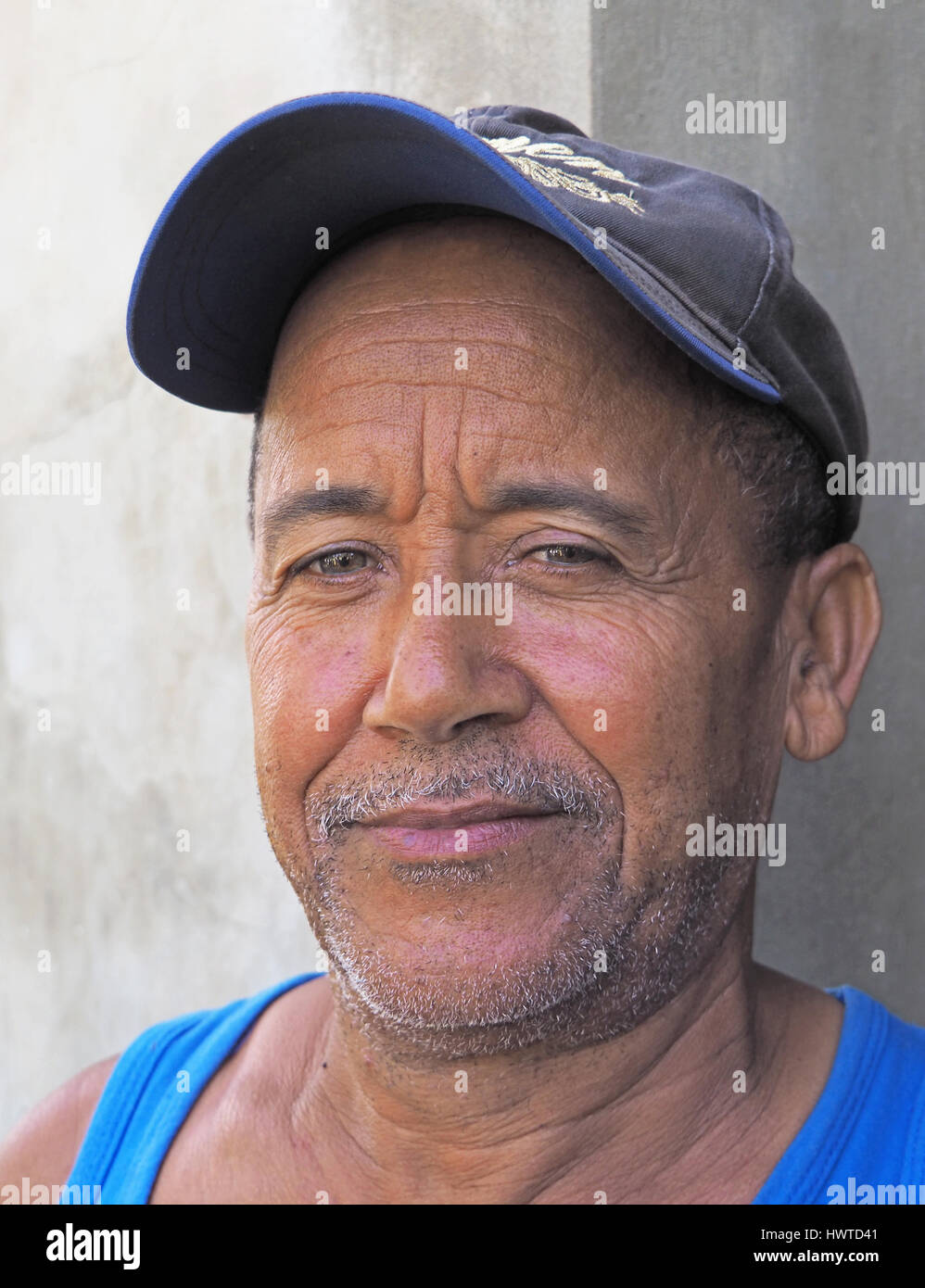 Cacao tree nursery grower in Puerto Plata, Dominican Republic. - Stock Image