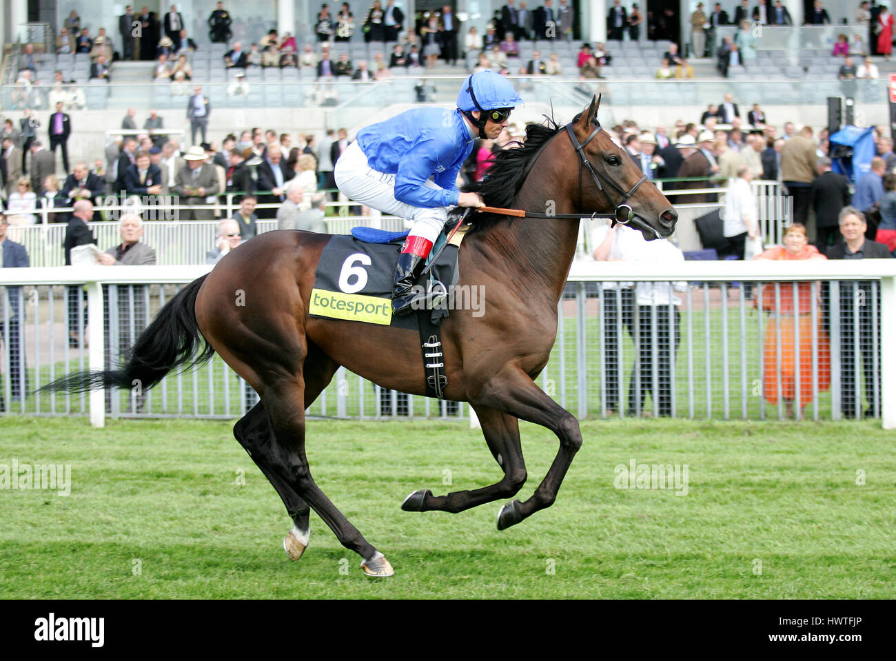 YOUNG PRETENDER RIDDEN BY L. DETTORI YORK RACECORSE YORK ENGLAND 15 May 2008 - Stock Image