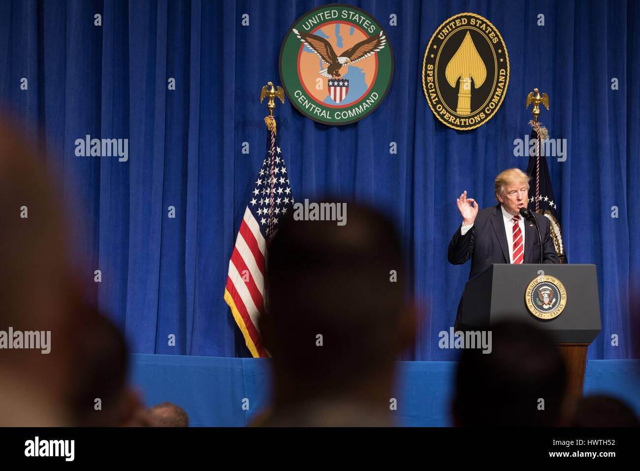 U.S President Donald Trump delivers remarks during a visit to the U.S. Military Central Command Headquarters February - Stock Image