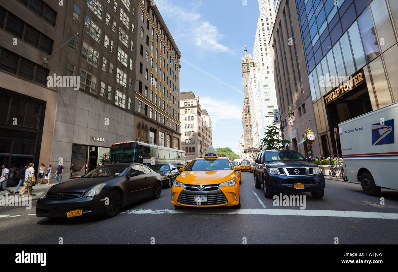 New York City, Usa - July 09, 2015: Yellow cabs and cars in Manhattan. The yellow taxi is an iconic symbol of New - Stock Image