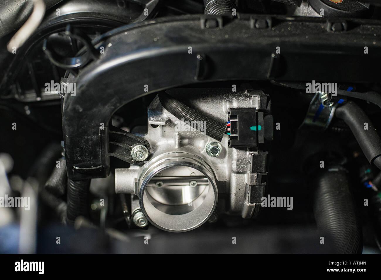new vehicle throttle Stock Photo
