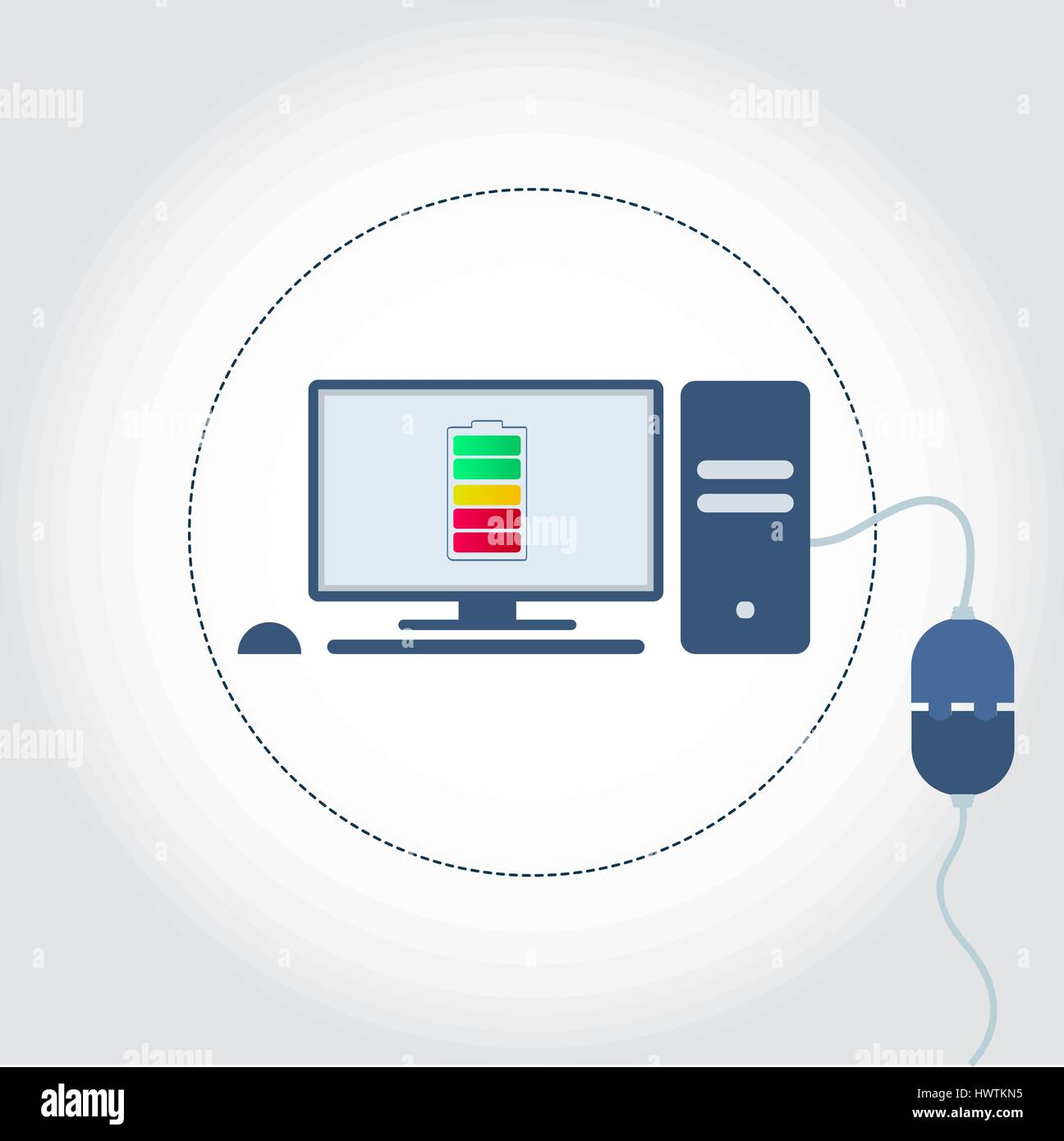 Computer with a plug plugged in and battery symbol on monitor showing charge level. Empty space for insert text. - Stock Vector