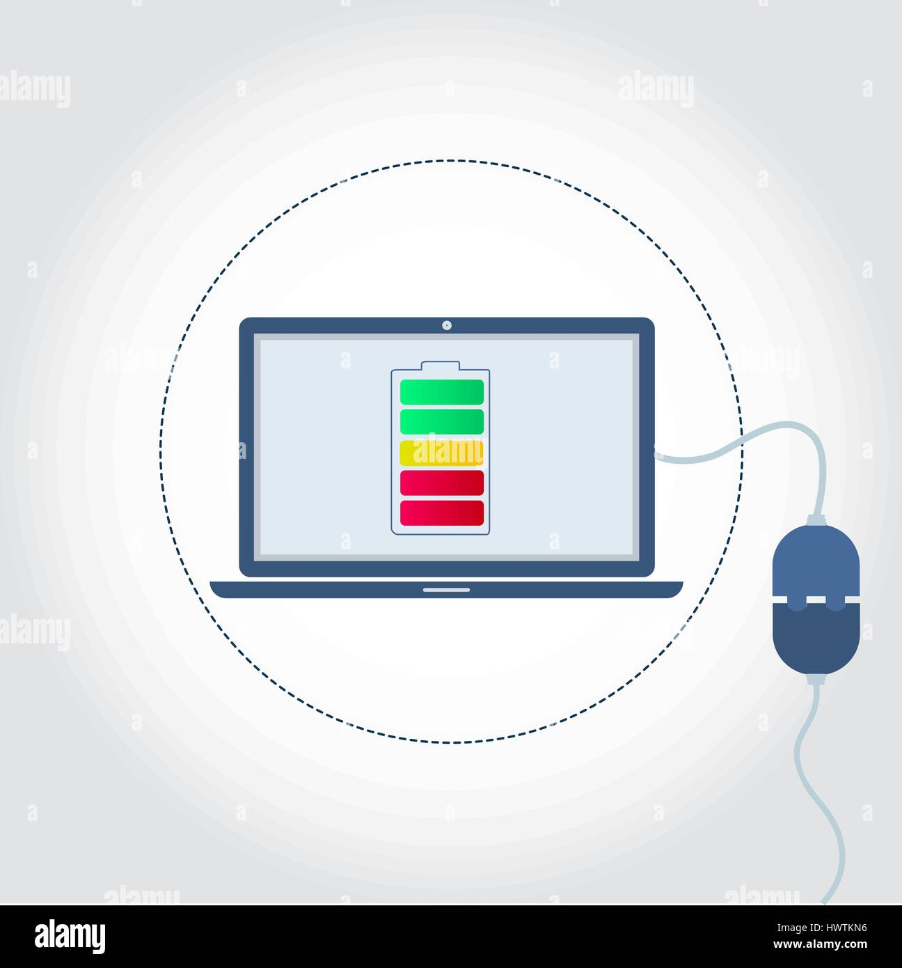 Laptop with a plug plugged in and battery symbol on monitor showing charge level. Empty space for insert text. - Stock Vector