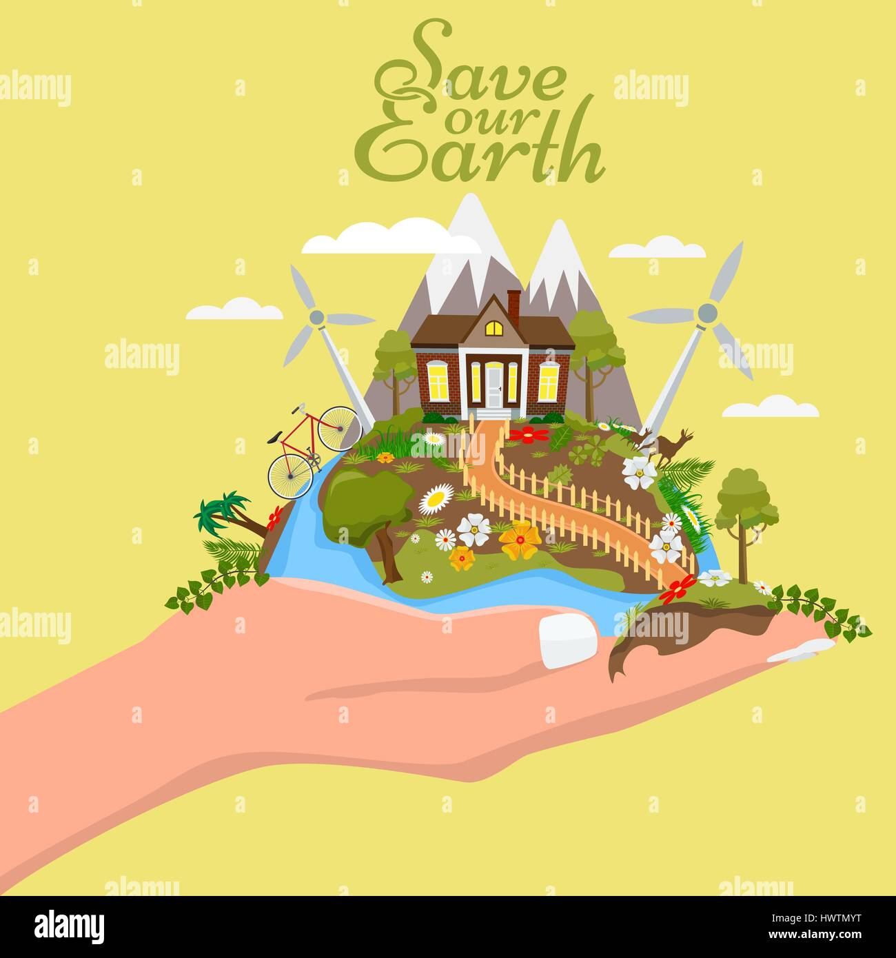 Earth day illustration. Hand holding the earth with cute and beautiful nature. Illustrated vector. - Stock Image
