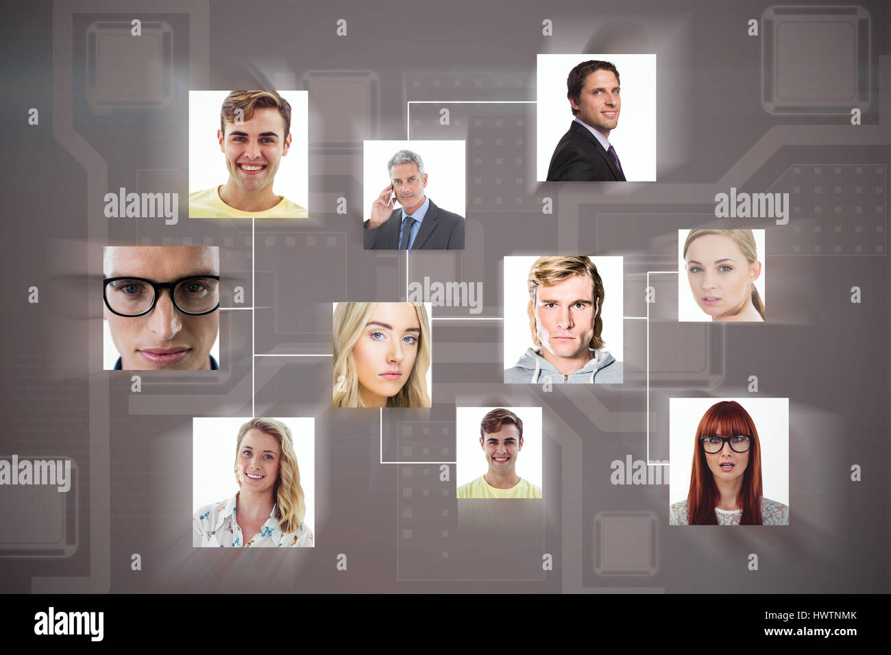 Composite image of headshots against brown background - Stock Image