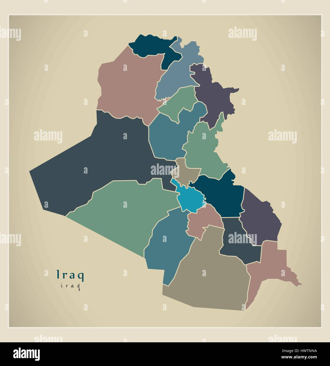 Modern Map - Iraq with governorates and regions colored IQ ...