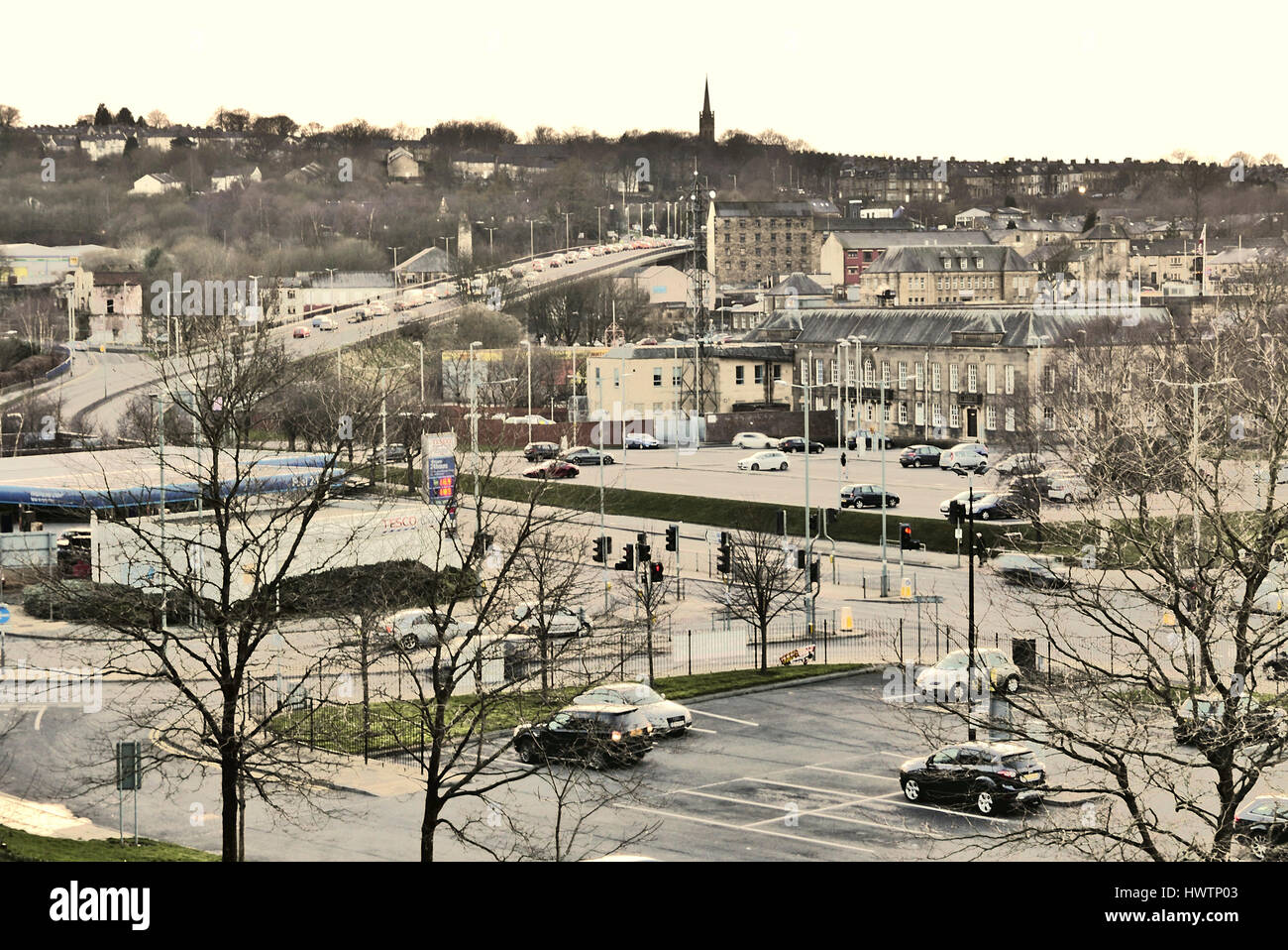 Rush hour traffic, Burnley,Lancashire,UK - Stock Image