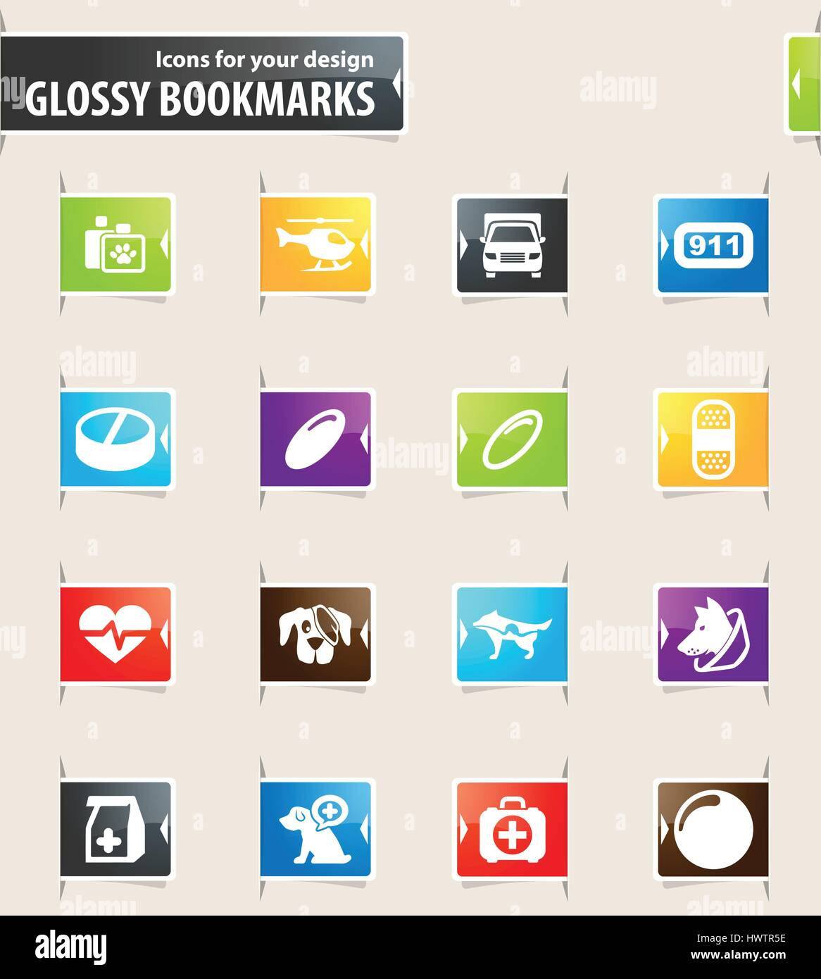 Veterinary clinic icons for your design glossy bookmarks - Stock Vector