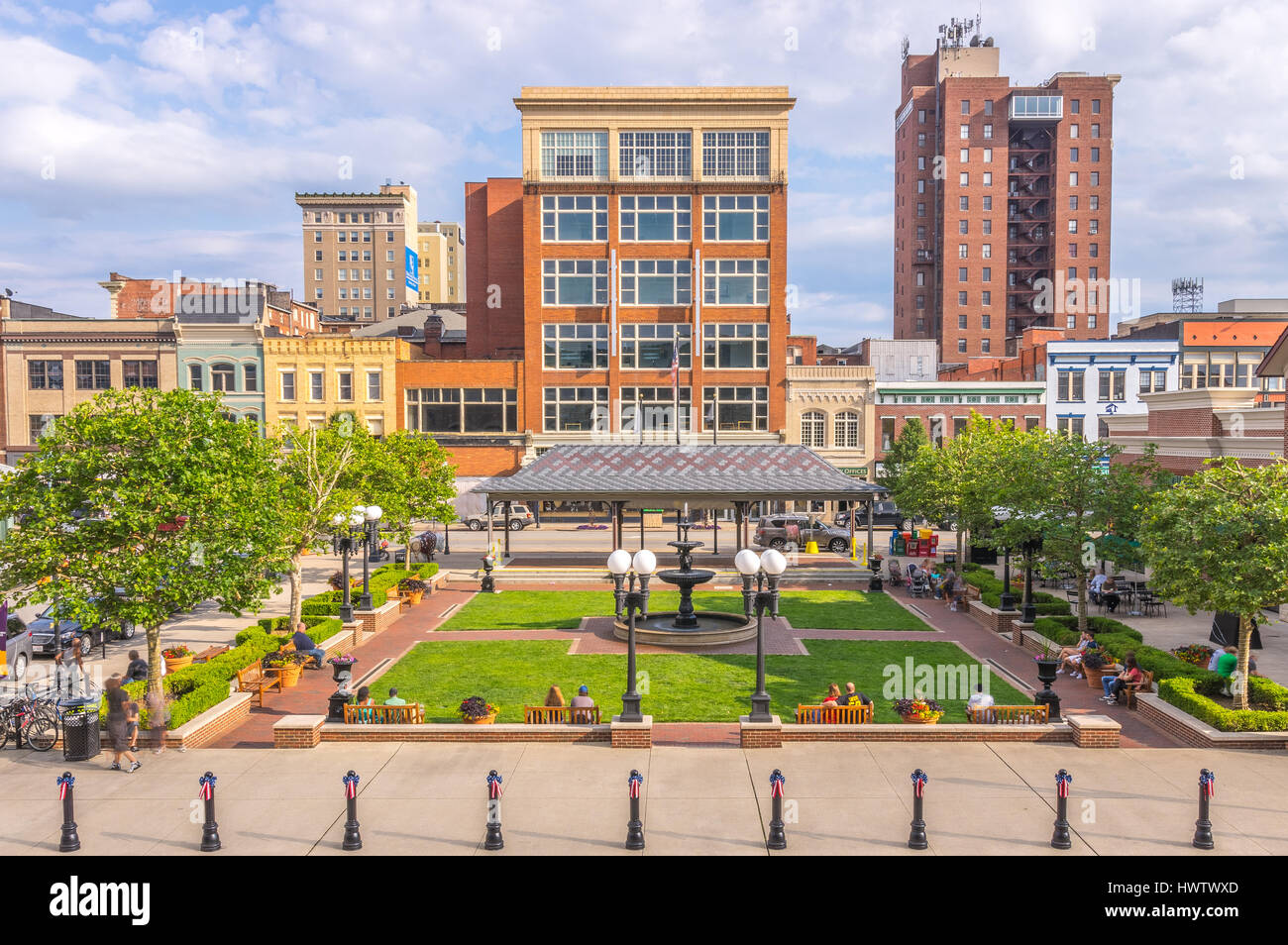 A slice in time at Pullman Square in Huntington, West Virginia. - Stock Image