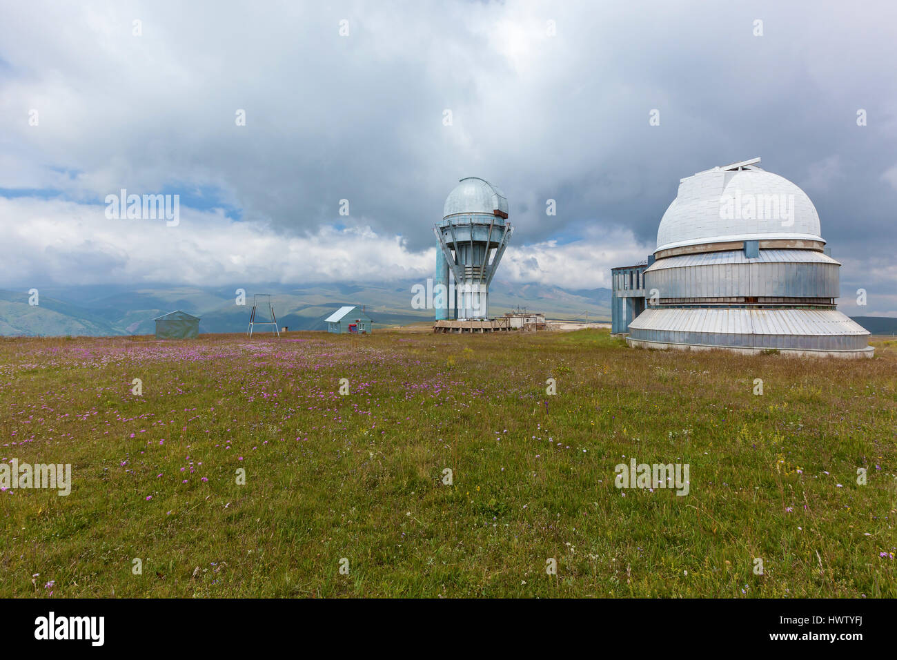 High mountain observatory Assy Plateau in Kazakhstan - Stock Image