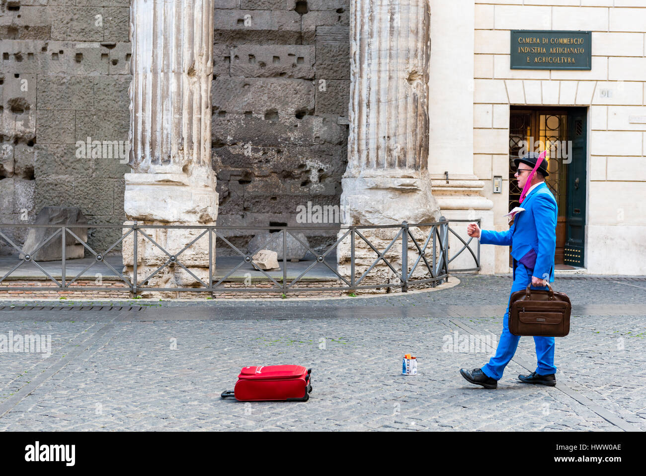 Rome, Italy - February 3, 2017:Mime artist performing in Piazza di Pietra,  on February 3, 2017 in Rome, Italy - Stock Image