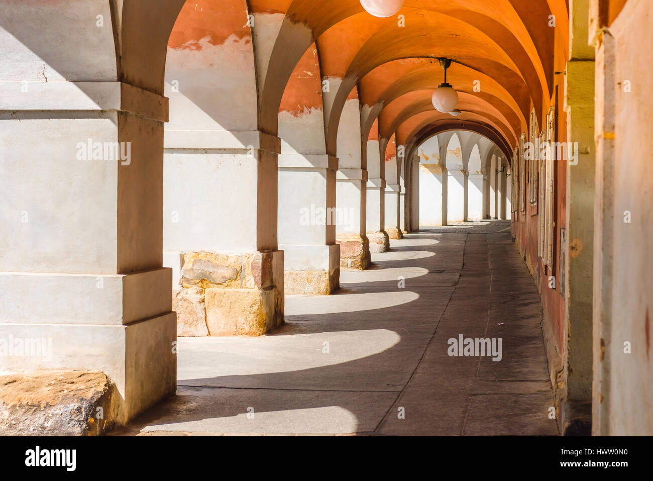 Prague old town arcade, an arcade - or portico - in the historic Hradcany district of Prague, Czech Republic. - Stock Image