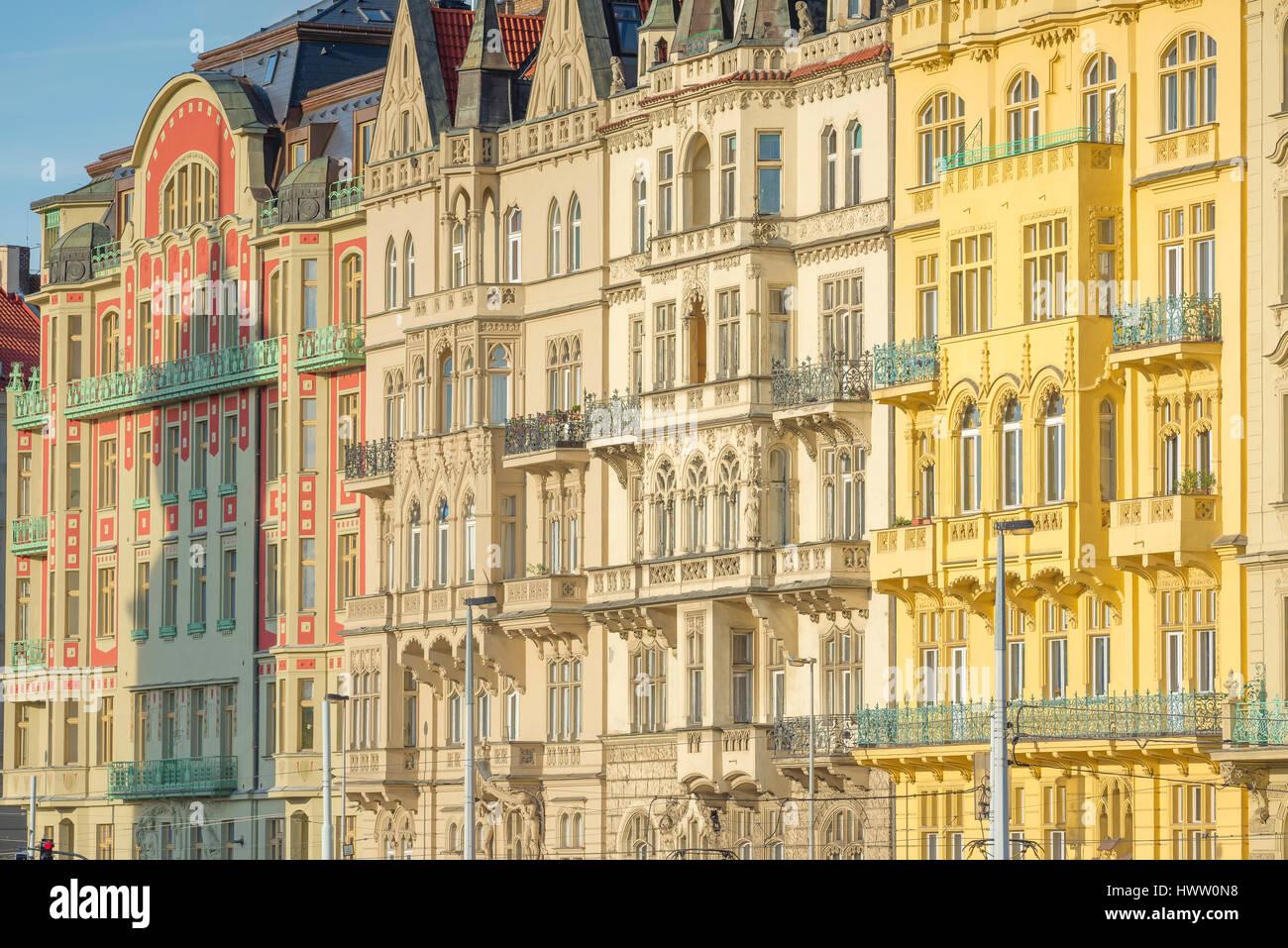 Prague art nouveau architecture, pastel coloured art nouveau