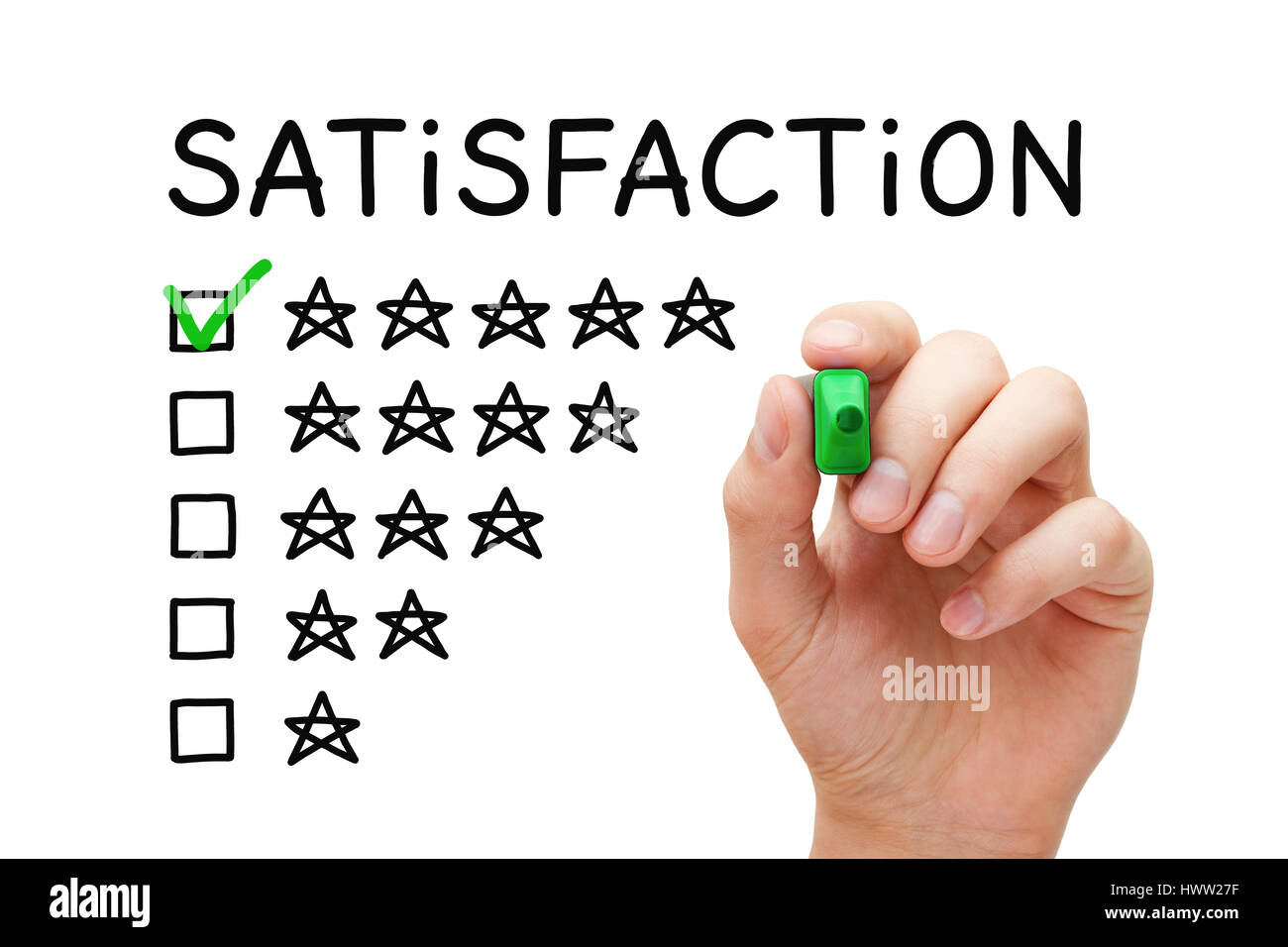 Hand putting check mark with green marker on five stars in customer satisfaction checklist form. - Stock Image