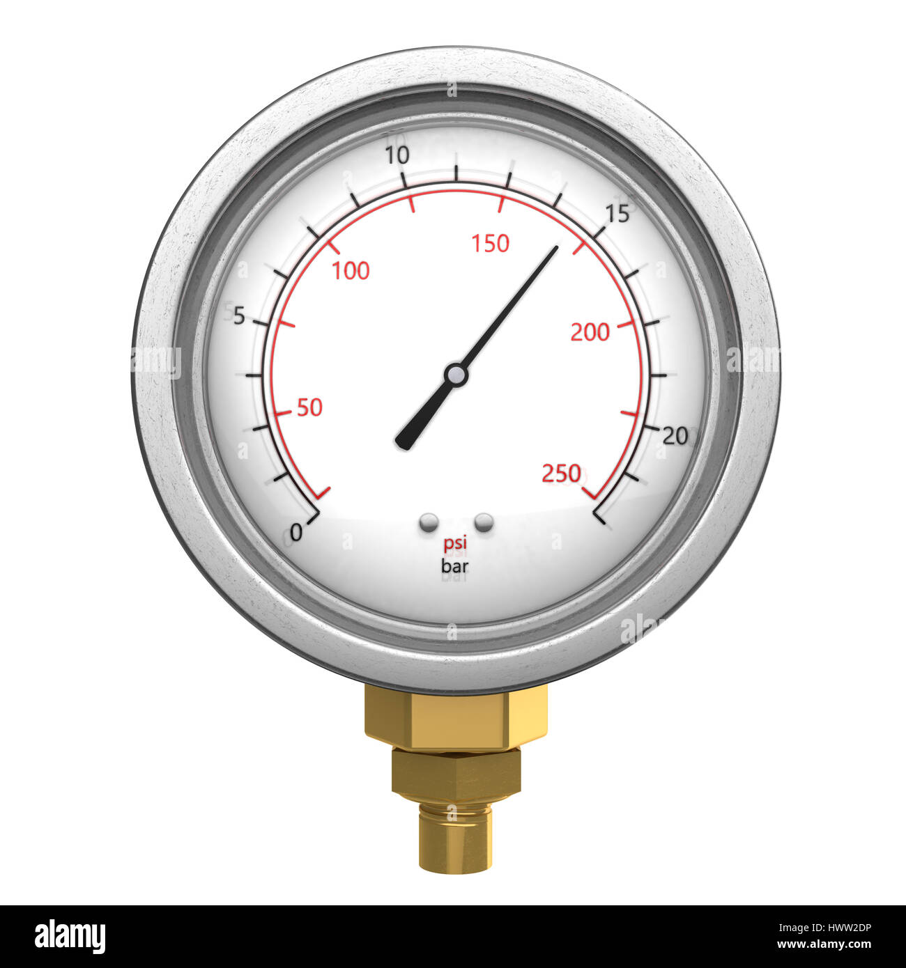 3d illustration of manometer isolated over white background - Stock Image
