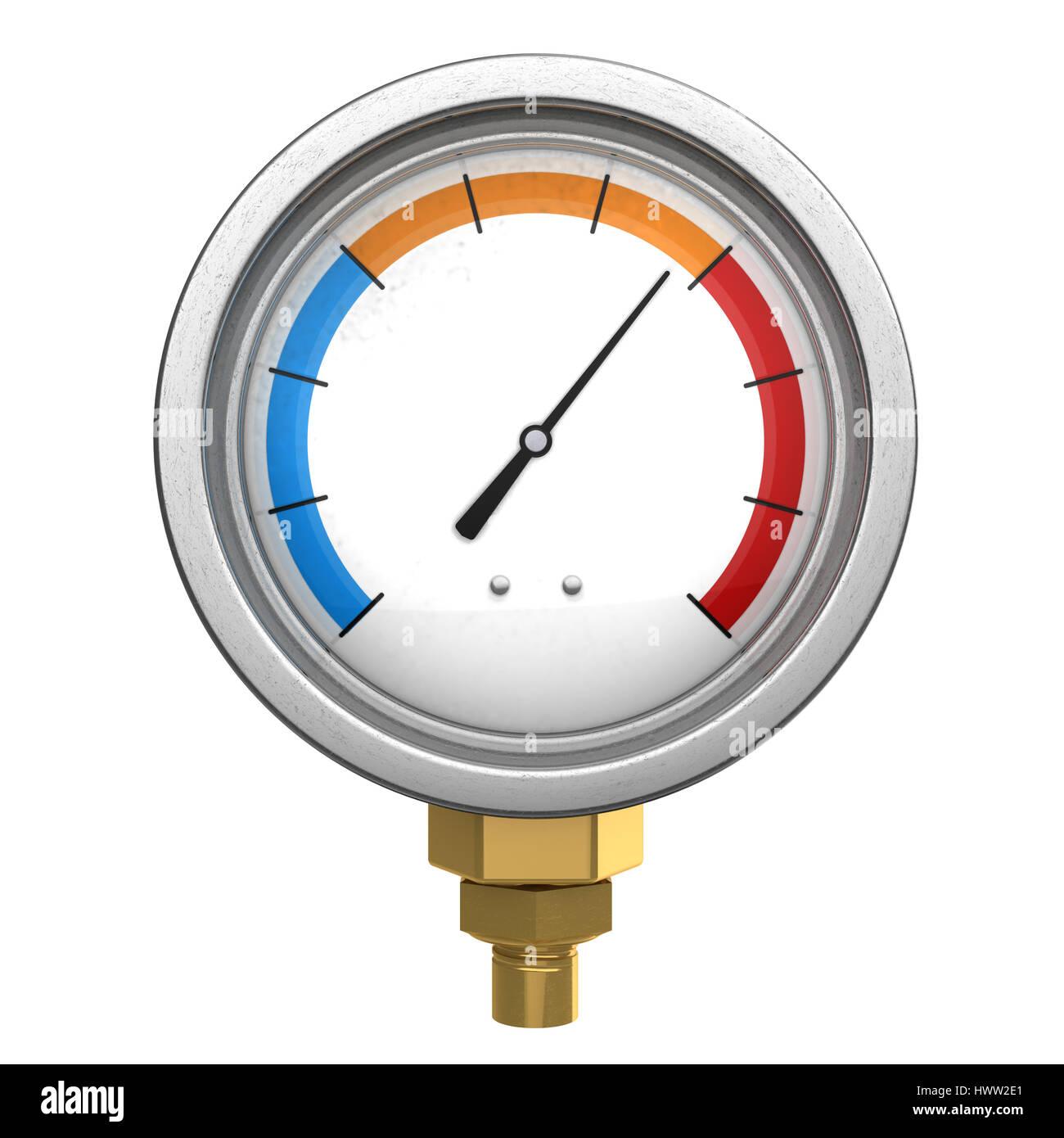 3d illustration of manometer or water temperature meter - Stock Image
