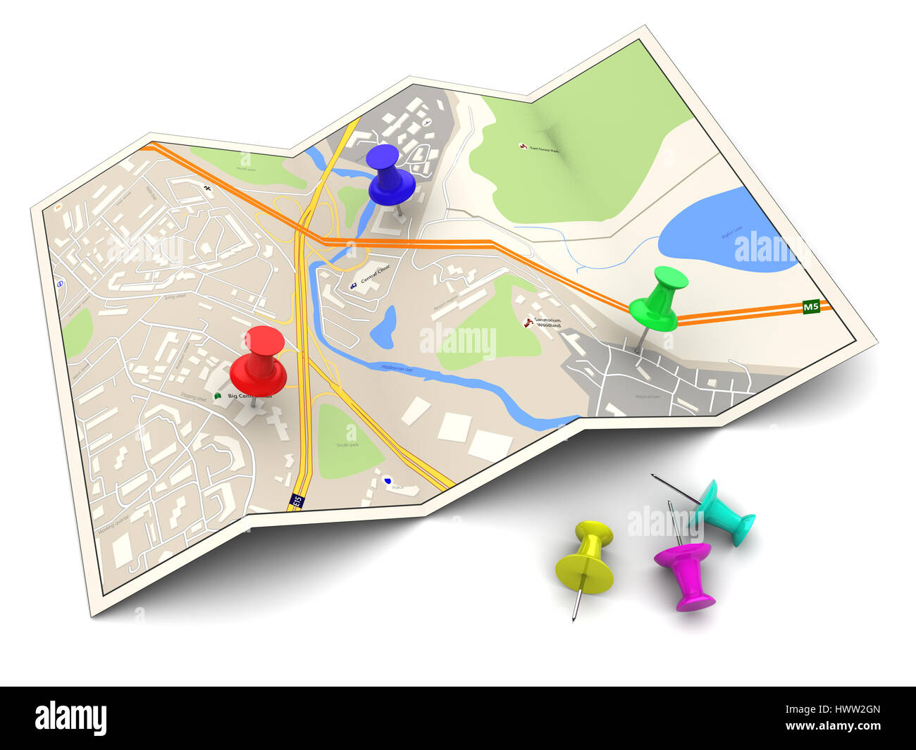 3d illustration of city map with colorful pins Stock Photo