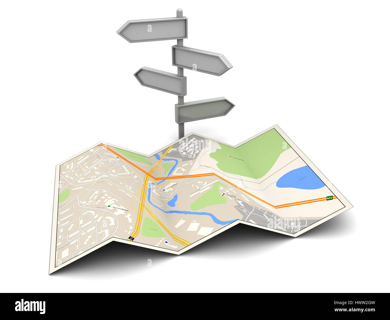 3d illustration of city map and index, over white background - Stock Image