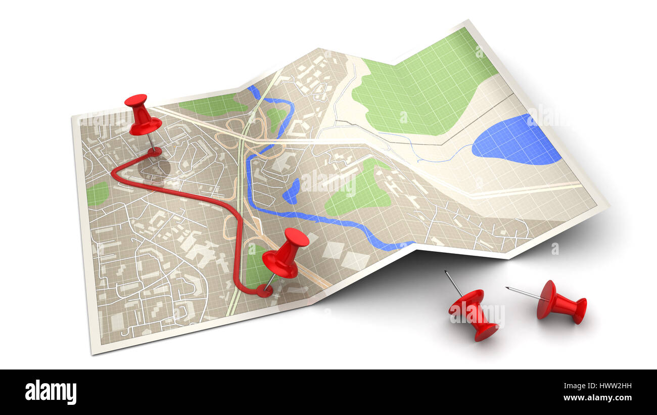 3d illustration of map and pins - route planning concept - Stock Image