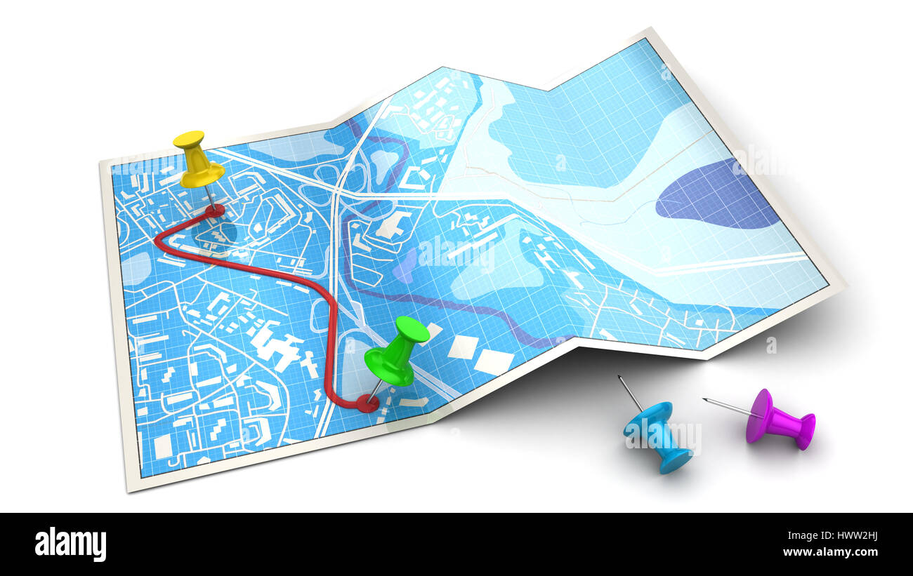 3d illustration of map and colorful pins - route planning concept or icon - Stock Image