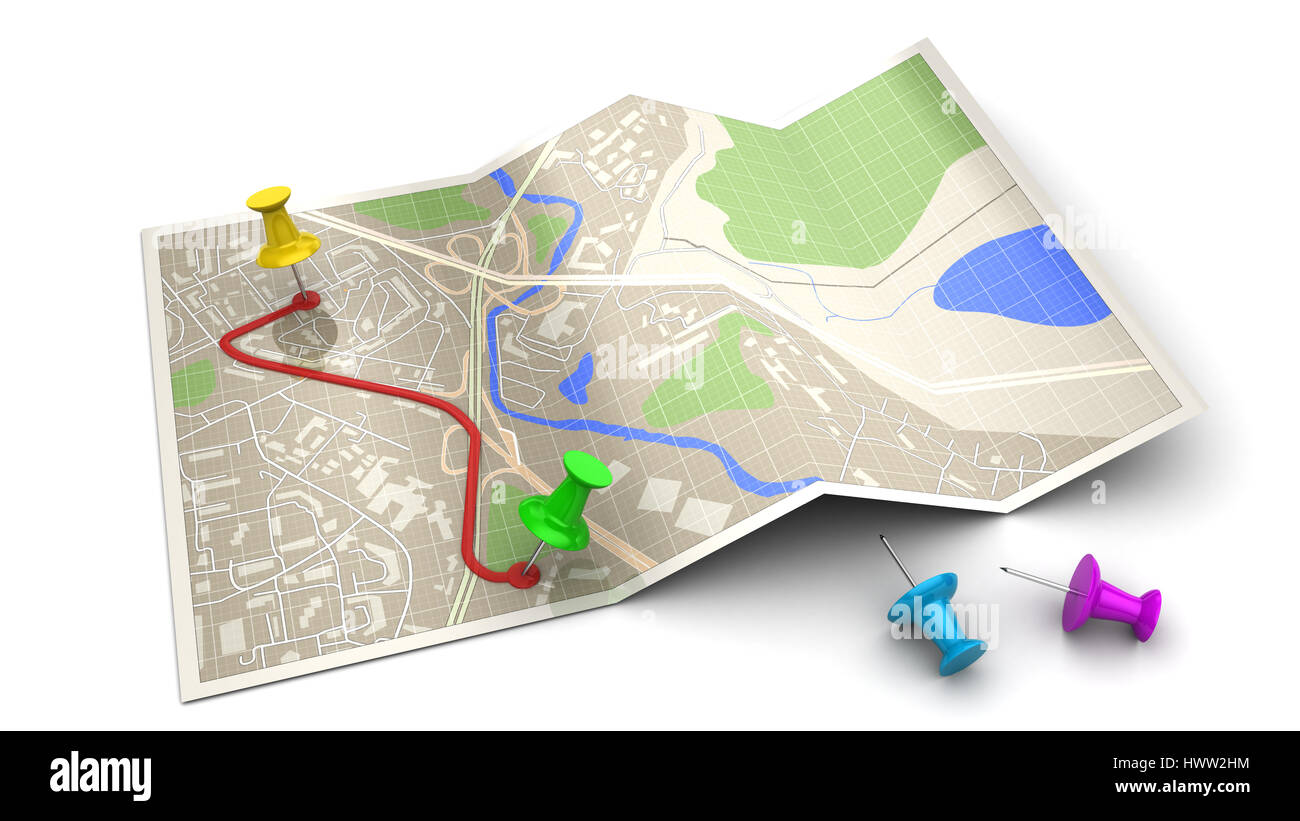 3d illustration of map and route, navigation concept or icon - Stock Image