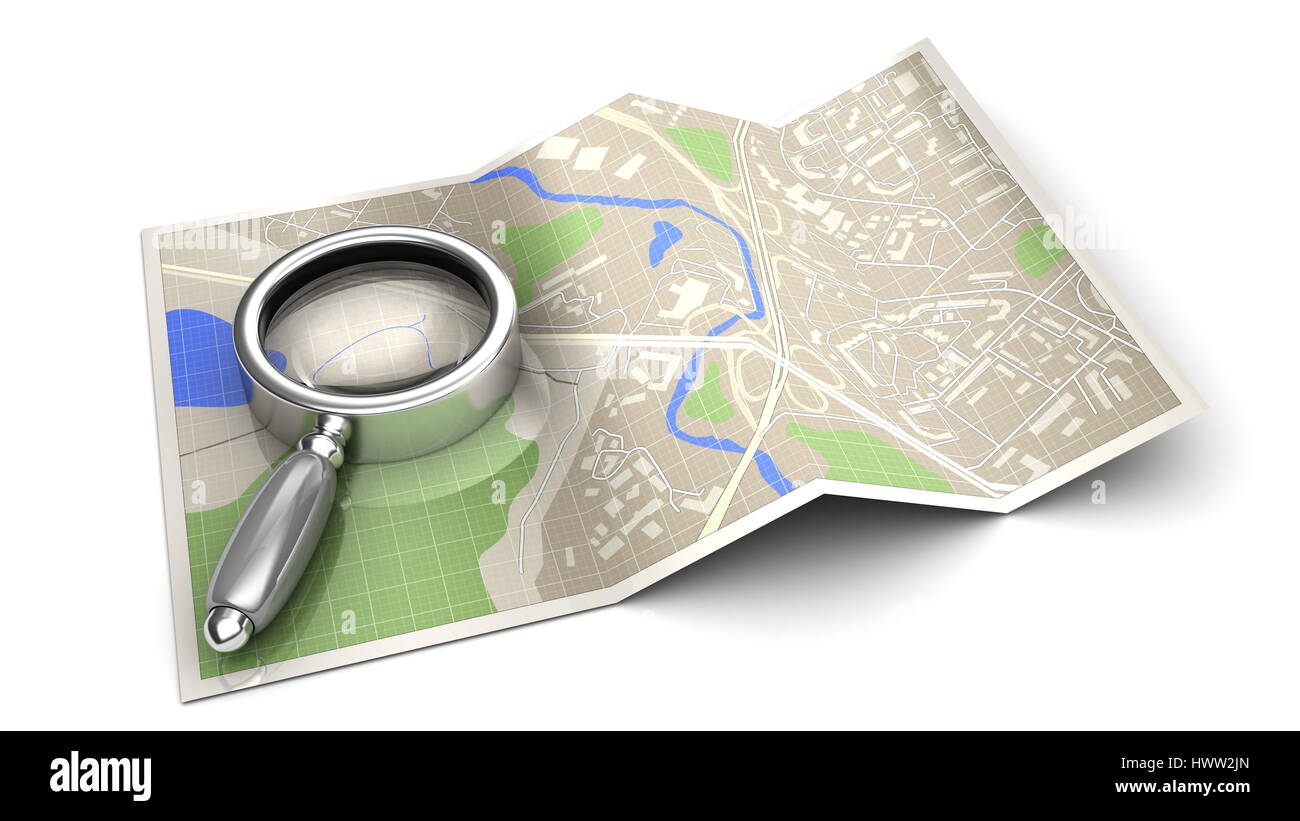 3d illustration of find on map concept or icon, over white background - Stock Image