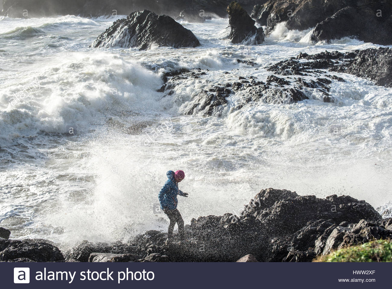 Large waves crash at Kynance Cover on the Lizard Peninsula in Cornwall - Stock Image